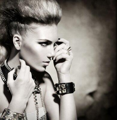 Canvas print Fashion Rocker Style Model Girl Portrait. Black and White