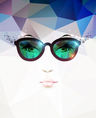 Canvas print fashion woman with glasses