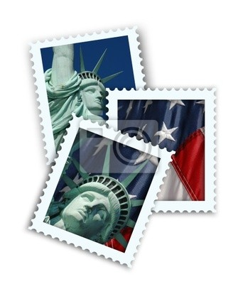 Canvas print faux travel postage stamps