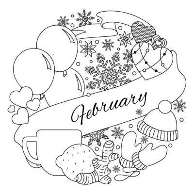 February. The circular arrangement of elements associated with winter. Coloring. The banner winter season. Frame vector illustration