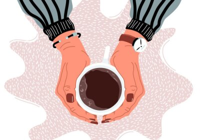 Canvas print Female hands holding coffee cup flat vector illustration
