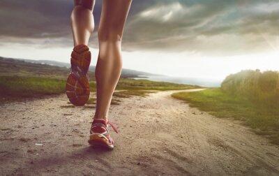 Canvas print Female Jogger on coastal path