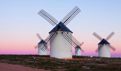 Canvas print Few windmills at field in evening