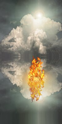 Canvas print Fire and water