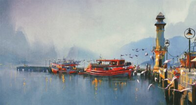 Canvas print fishing boat in harbor at morning,watercolor painting style