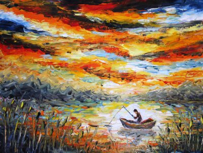 Canvas print Fishing, clouds, river. sunset, painting. Spatula