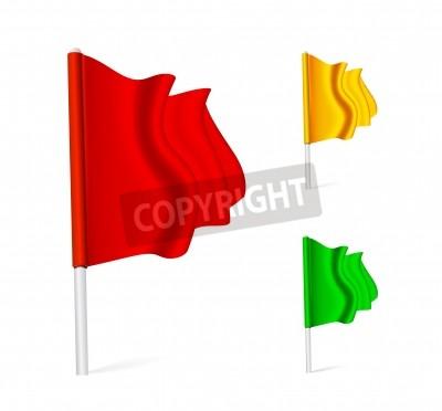 Flag fluttering in the wind. Color set