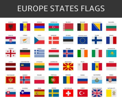Canvas print flag of europe states vector set