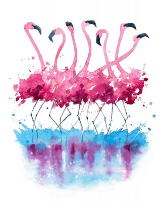 Canvas print Flamingos watercolor painting