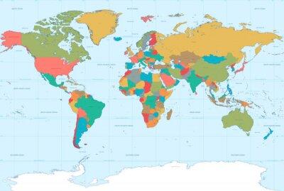 Canvas print Flat Colors World Map