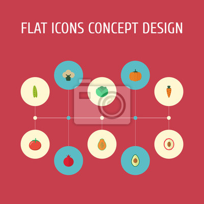 Flat Icons Cauliflower, Alligator Pear, Love Apple And Other Vector Elements. Set Of  Flat Icons Symbols Also Includes Rooty, Fruit, Pomegranate Objects.