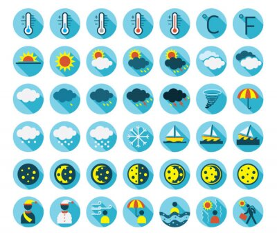 Flat icons set : Weather Symbols