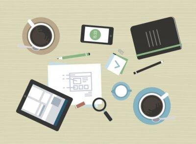 Canvas print Flat illustration of modern business meeting