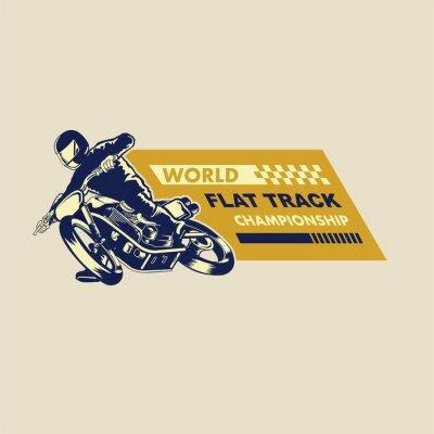 Canvas print flat track racer illustration