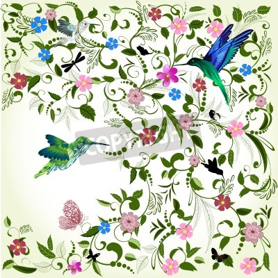 Canvas print Floral background with bird