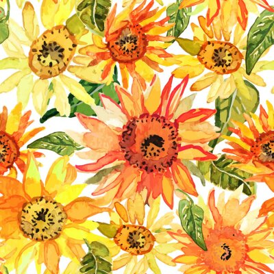 Canvas print Floral seamless pattern with sunflowers drawn watercolor.