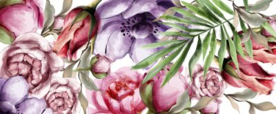 Canvas print Floral watercolor background Vector. BEautiful peony, roses and tropic leaves. Detailed painted styles