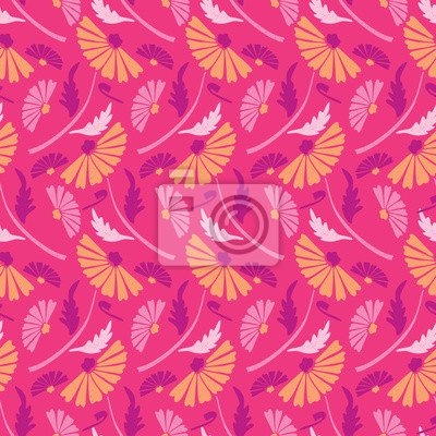 Flower All Over Print Vector. Colorful Blooms Seamless Repeating Pattern in Folk Art Style on Pink Background. Hand Painted Stripes for Fashion Prints, Wallpaper, Stationery, Floral Garden Packaging.