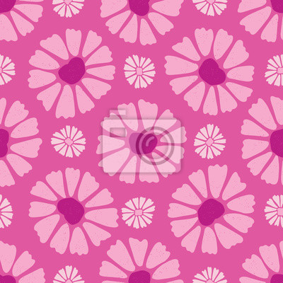 Flower All Over Print Vector. Colorful Blooms Seamless Repeating Pattern in Folk Art Style on Pink Background. Hand Painted, Tossed for Fashion Prints, Wallpaper, Stationery, Floral Garden Packaging.