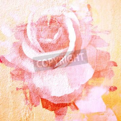 Canvas print Flower beautiful rose, art paint illustration for background