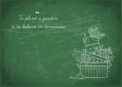 Flower bed made of old cooking pots and kettle. Doodle garden decoration on blackboard background.