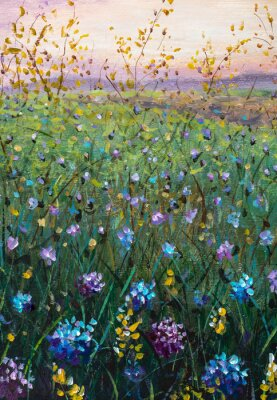 Flower field at sunset dawn - floral landscape oil painting on canvas. Beautiful flower summer field - wildflowers in the grass