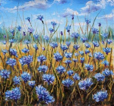 Canvas print Flower Field. Blue flowers in meadow. Blue sky. Oil painting.