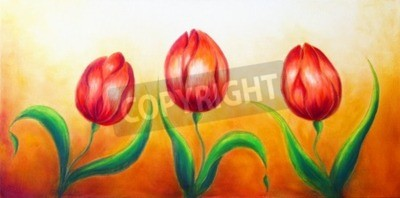 Canvas print Flower motive, three dancing red tulip flowers, beautiful bright colorful painting on ocre background