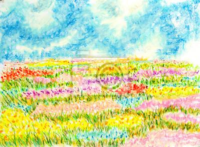 flowers field landscape,oil pastel painting illustration