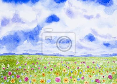 flowers field landscape watercolor painted
