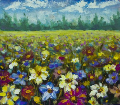 Canvas print Flowers field oil painting.