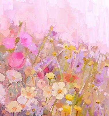 Canvas print Flowers field oil painting,soft color-blur style