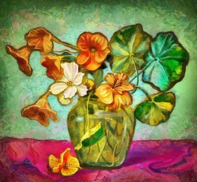 Canvas print flowers glass vase