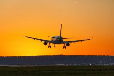 Canvas print Flugzeug landet Flughafen Sonne Sonnenuntergang Ferien Urlaub Reise reisen