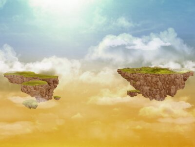 Canvas print Flying islands in the sky.