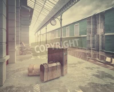 Canvas print fog on the retro railway  train station .Vintage color style 3D concept