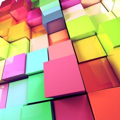 Canvas print fondo abstracto de cubos de colores