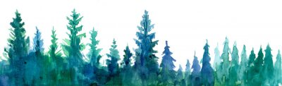 Canvas print  Forest background. Watercolor illustration