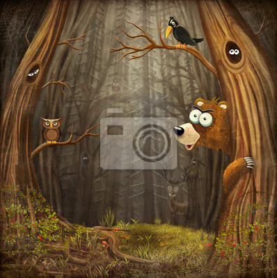 Canvas print Forest landscape with animals