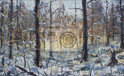 forest winter landscape, oil painting