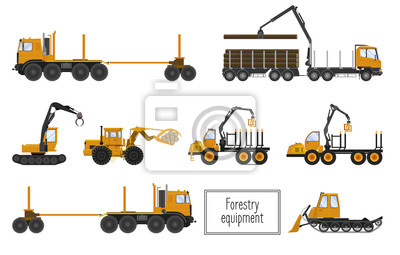 Forestry equipment: loggers, carriers of the woods. Vector