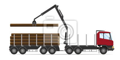 Forestry equipment. Logging truck with load