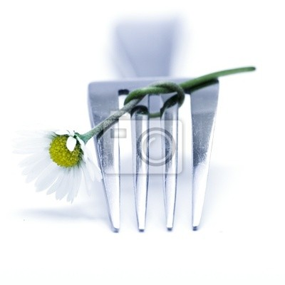 Canvas print fork and flower