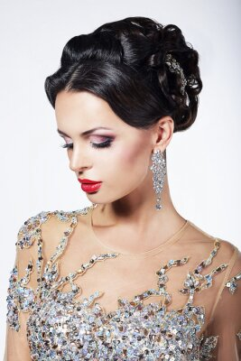 Canvas print Formal Party. Fashion Model in Formal Shiny Dress with Jewels