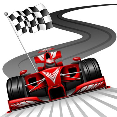 Canvas print Formula 1 Red Car on Race Track