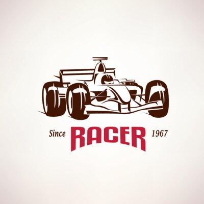 Canvas print formula racing car emblem, race bolide symbol
