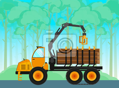 Forwarder. Self-propelled vehicle for the transportation of timber. Vector