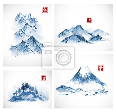 Four paintings of blue mountains hand drawn with ink. Traditional oriental ink painting sumi-e, u-sin, go-hua. Contains hieroglyphs - happiness, clarity. Vector illustration.