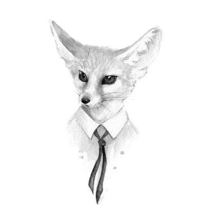 Canvas print Fox. Black and white watercolor illustration