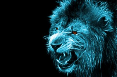 Canvas print Fractal digital fantasy art of a lion on a isolated background